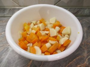 Zöldségek feldarabolva