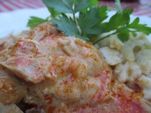 Bográcsos paprikás csirke tálalva 2