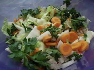 Zöldségek felaprítva