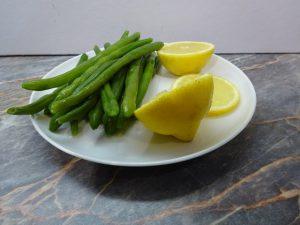 Zöldbab megfőzve és citrom